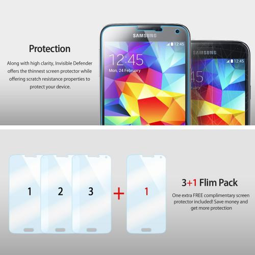 Galaxy S5 Mini [ringke Invisible Defender] Screen Protector - Hd Clarity Ultra Thin Screen Protector For Samsung Galaxy S5 Mini (ringke) [4 Pack]