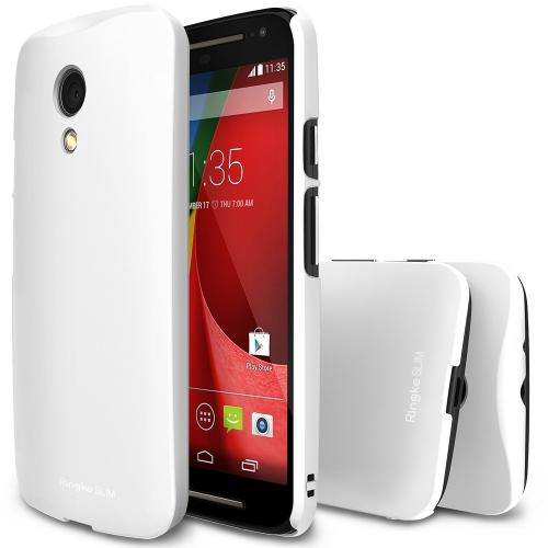 Moto G 2014 [ringke] Hard Case Cover [white] Slim Protective Premium Dual Coated Case W/ Free Screen Protector Included