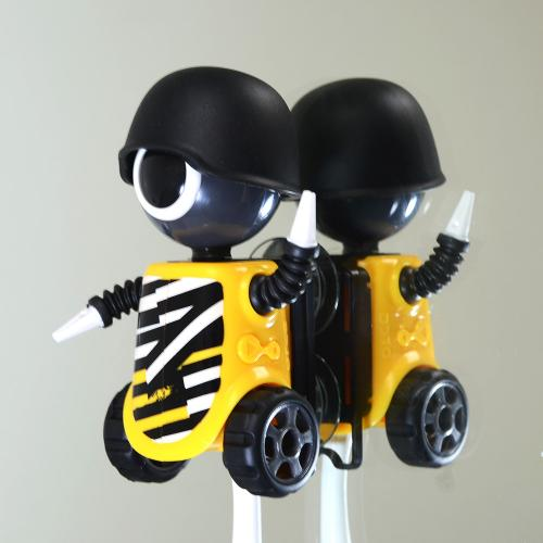 Black/ Yellow Be Bold Robot Flipper Toothbrush Holder