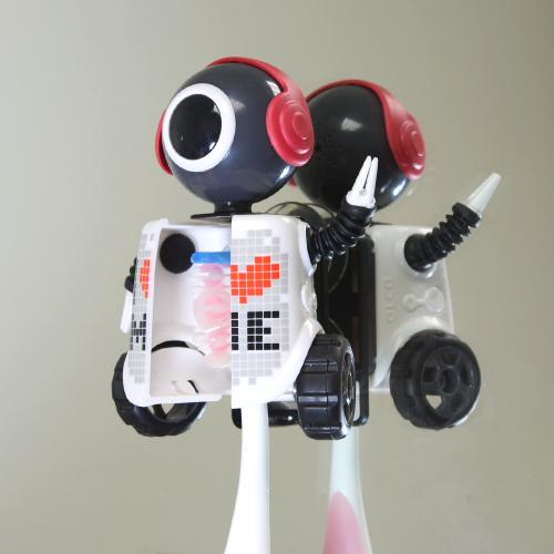 Black/ White I Love Me Robot Flipper Toothbrush Holder