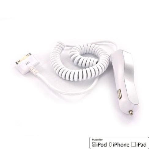 Luxmo Platinum Maxboost White Universal Apple iPhone/ iPad (Non Lightning) Car Charger (2100 mAh) - MFI Certified