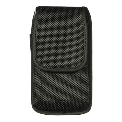Black Vertical Nylon Holster Pouch Case w/ Metal Belt Clip, D-Link & Velcro Closure - Perfect for iPhone 5 & 6, Galaxy S3 and More!