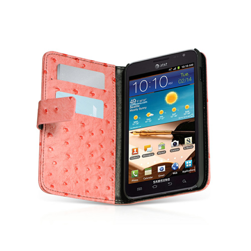 Luxmo Samsung Galaxy Note Impact Resistant Leather Case Stand - Red Ostrich Skin