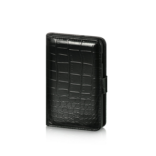 Luxmo Samsung Galaxy Note Impact Resistant Leather Case Stand - Black Crocodile Skin