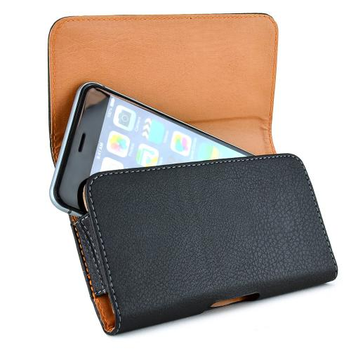 Horizontal Leather Holster Pouch w/ Magnetic Closure, Belt Clip and Belt Loops for Large Smartphones likes Samsung Galaxy® Note Series