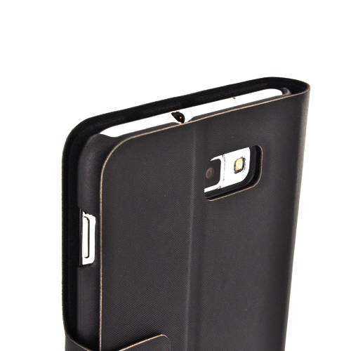 Luxmo Samsung Galaxy Note Impact Resistant Leather Case Stand - Black