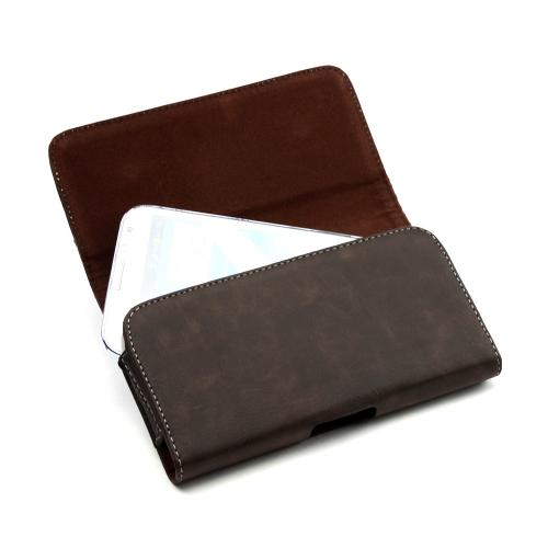 Brown w/ Gray Stitching Universal Horizontal Leather Holster Pouch w/ Magnetic Closure & Belt Clip for Samsung Galaxy Note Series