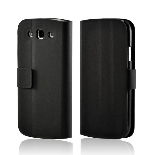 Black Diary Flip Cover Hard Case w/ Stand & Magnetic Closure for Samsung Galaxy S3