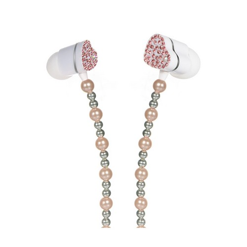 Baby Pink Pearl Necklace Style Universal 3.5mm Stereo Earbuds w/ Pink Gems & Remote