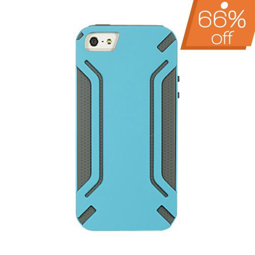 Apple iPhone SE / 5 / 5S  Case,  [Blue] Battleship Design Premium Rubberized Shell on Gray Silicone Case