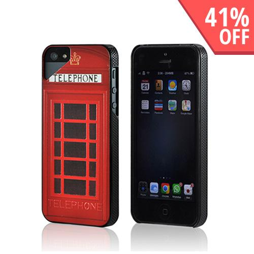 Apple iPhone SE / 5 / 5S  Case,  [Red] Telephone Booth Hard Case