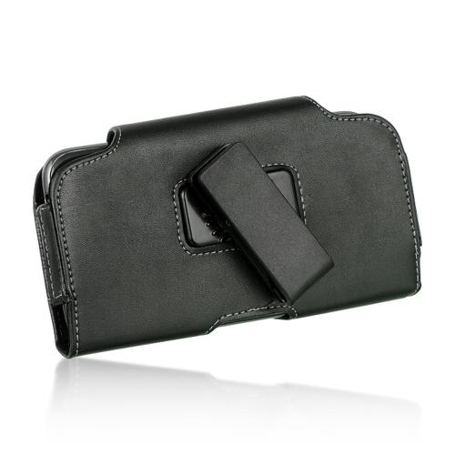 Horizontal Premium Leatherette Holster Pouch Case [Black] Featuring Snap Close Magnet & Swivel Belt Clip For Apple iPhone 6 PLUS/6S PLUS (5.5 inch)