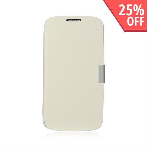 White Diary Flip Cover Hard Case w/ Magnetic Closure for Samsung Galaxy S4