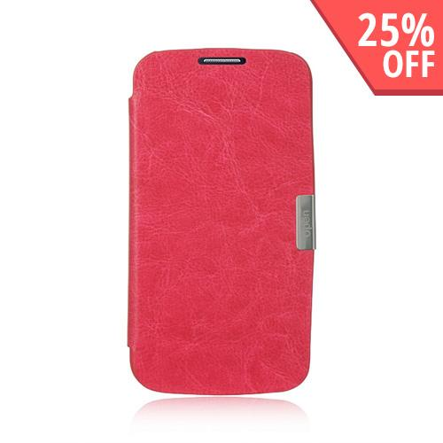 Hot Pink Diary Flip Cover Hard Case w/ Magnetic Closure for Samsung Galaxy S4