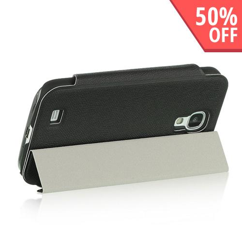 Black Diary Flip Cover Hard Case w/ Smart Cover & Stand for Samsung Galaxy S4