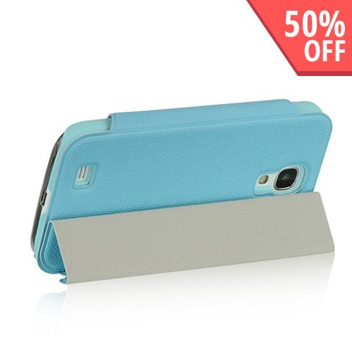 Baby Blue Diary Flip Cover Hard Case w/ Smart Cover & Stand for Samsung Galaxy S4