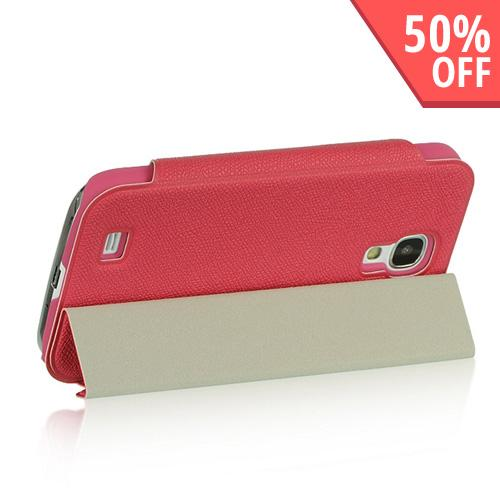 Hot Pink Diary Flip Cover Hard Case w/ Smart Cover & Stand for Samsung Galaxy S4