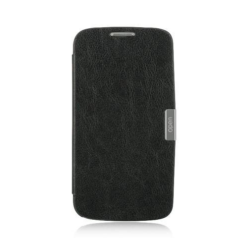 Black Diary Hard Cover Flip Case w/ Sleeper Function for Samsung Galaxy S4