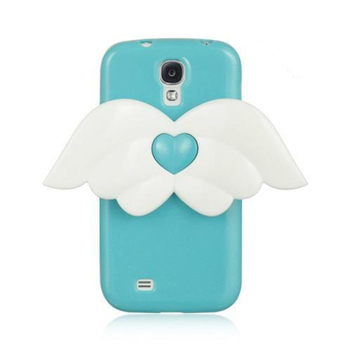 Sky Blue Sparkle Crystal Silicone Skin Case w/ White Angel Wings for Samsung Galaxy S4