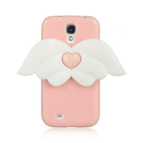Baby Pink Sparkle Crystal Silicone Skin Case w/ White Angel Wings for Samsung Galaxy S4