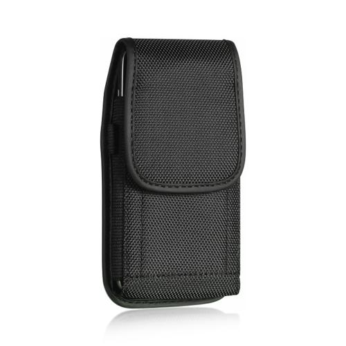 Black Vertical Nylon Holster Pouch Case w/ Metal Belt Clip, D-Link & Velcro Closure - Perfect for HTC One M8, LG G3, iPhone 6, and More!