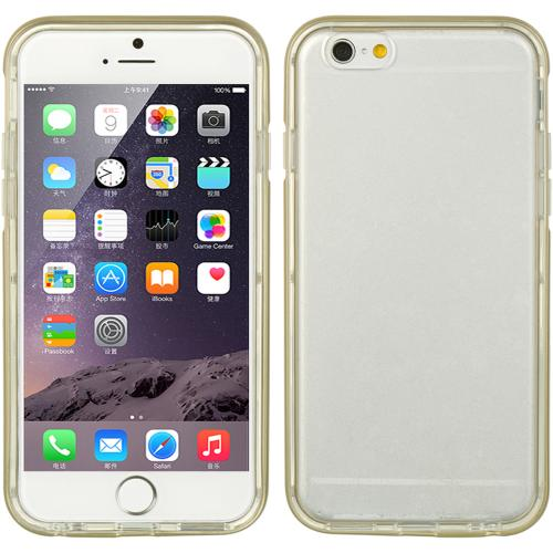 Apple iPhone 6/ 6S Case, [Clear] Slim & Flexible Anti-shock Crystal Silicone Protective TPU Gel Skin Case Cover w/ Gold PC Bumper