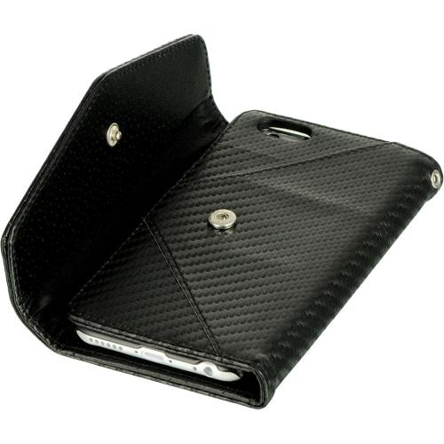 Black Carbon Fiber Design Diary Wallet Clutch Case w/ ID slots and Wrist Strap Made for Apple iPhone 6 ( 4.7 inch)