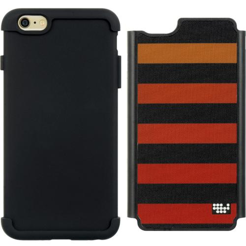 Red & Orange Stripes Hard Cover Case on Black Silicone Skin Case Made for Apple iPhone 6 PLUS/6S PLUS (5.5 inch)