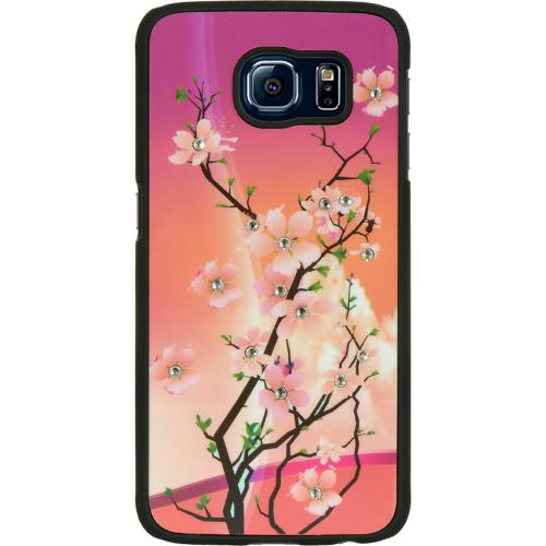 Samsung Galaxy S6 Case, [Cherry Blossom w/ Bling Accents] Slim & Protective Crystal Glossy Snap-on Hard Polycarbonate Plastic Case Cover