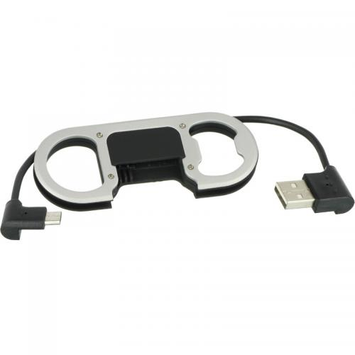 "Compact Micro USB 2.1 A Charge Sync Cable (8.25"") w/ Bottle Opener For Android Devices"