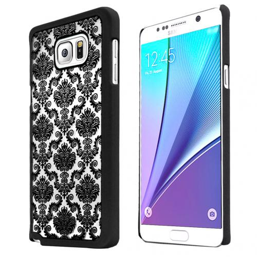 Samsung Galaxy Note 5, [Black Lace]  Slim & Protective Rubberized Matte Finish Snap-on Hard Polycarbonate Plastic Case Cover