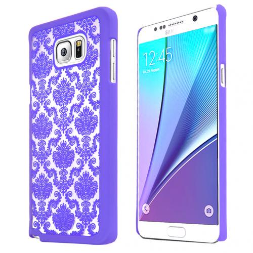 Samsung Galaxy Note 5, [Purple Lace]  Slim & Protective Rubberized Matte Finish Snap-on Hard Polycarbonate Plastic Case Cover