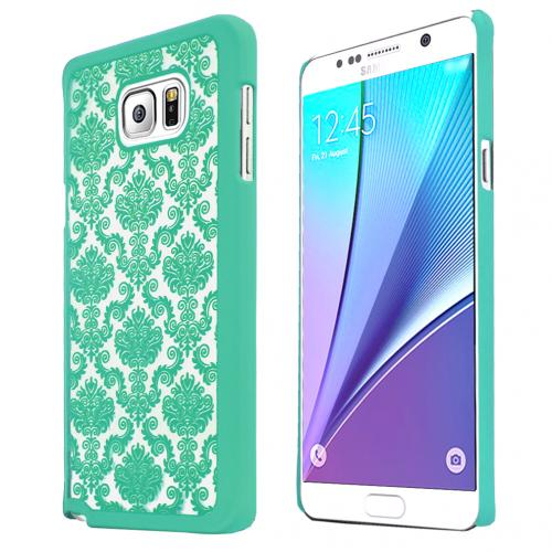 Samsung Galaxy Note 5, [Mint Lace]  Slim & Protective Rubberized Matte Finish Snap-on Hard Polycarbonate Plastic Case Cover