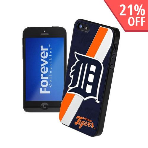 Apple iPhone SE / 5 / 5S  Case, MLB Licensed [Detroit Tigers]  Premium Hard Back Cover w/ Silicone Case