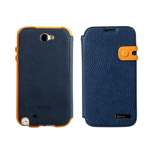 OEM Zenus Samsung Galaxy Note 2 Masstige Color Edge Diary Series Leather Case w/ ID Slots - Navy Blue/ Yellow