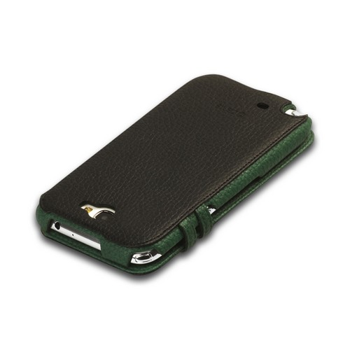OEM Zenus Samsung Galaxy Note 2 Masstige Color Edge Diary Series Leather Case w/ ID Slots - Black/ Green
