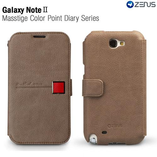 Beige/ Red OEM Zenus Masstige Series Color Point Leather Diary Case w/ ID Slots for Galaxy Note 2