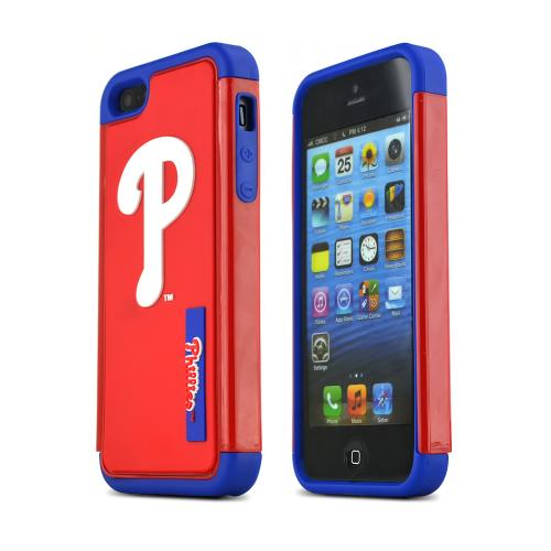 Apple iPhone SE / 5 / 5S  Case, MLB Licensed [Philadelphia Phillies] Forever Collectibles Dual Hybrid TPU Rugged Case