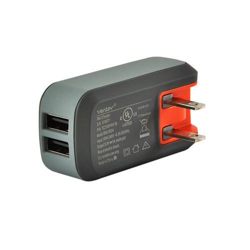 Ventev Black/ Gray Dual 1A USB Port Wall Charger (2100 mAh)