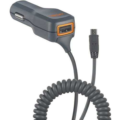 Ventev Black/ Orange Universal Micro USB Car Charger (1A) w/ USB Port (1A) - Charge 2 Phones at Once!