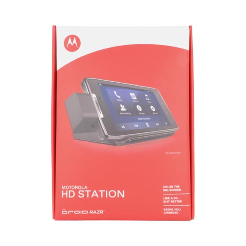 Original Motorola Droid RAZR HD Multimedia Station Dock w/ 3.5mm Audio Jack, & Wall Charger, 89526N - Black