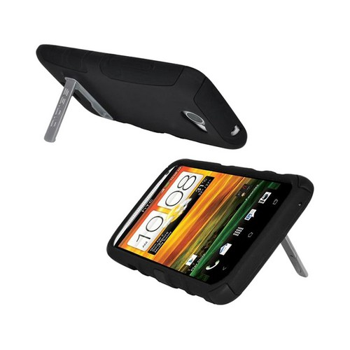 Seidio HTC One X Active Combo Rubberized Hard Cover Over Silicone w/ Holster & Metal Kickstand - Black