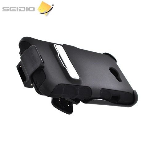 Seidio Active HTC EVO 4G LTE Rubberized Hard Cover Over Silicone w/ Holster & Kickstand - Black