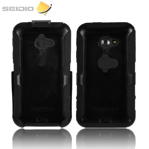 Seidio Convert HTC EVO 4G LTE Rubberized Hard Cover Over Silicone w/ Holster & Belt Clip - Black