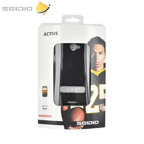 OEM Seidio HTC One S Active Rubberized Hard Cover Over Silicone w/ Metal Kickstand - Black