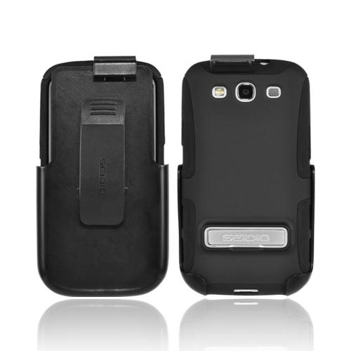 OEM Seidio Samsung Galaxy S3 Active Combo Rubberized Hard Over Silicone Case & Holster w/ Belt Clip - Black