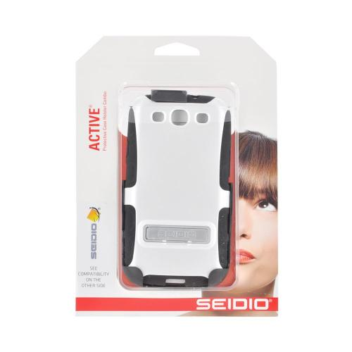 OEM Seidio Samsung Galaxy S3 Active Combo Hard Over Silicone Case & Holster w/ Belt Clip - White/ Black