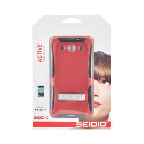 OEM Seidio Samsung Galaxy S3 Active Combo Rubberized Hard Over Silicone Case & Holster w/ Belt Clip - Red/ Black