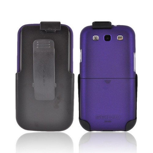 Seidio Samsung Galaxy S3 Surface Combo Rubberized Hard Case w/ Holster - Purple/ Black
