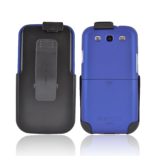 Seidio Samsung Galaxy S3 Surface Combo Rubberized Hard Case w/ Holster - Blue/ Black